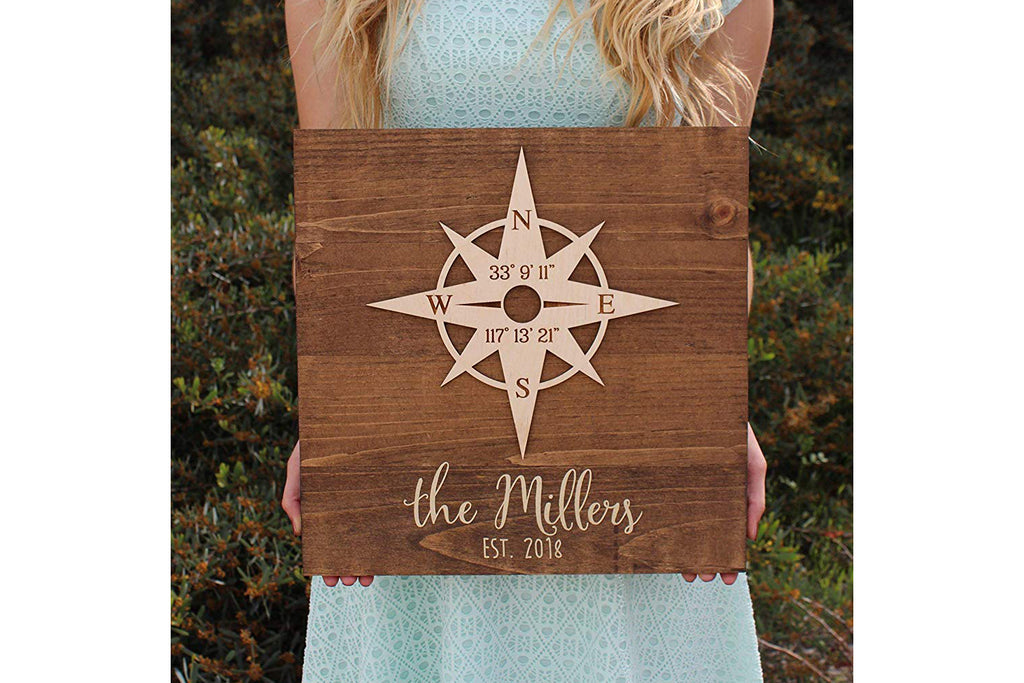 Wood Sign with Compass Rose - Personalized with Names (Cursive) and Latitude/Longitude GPS Coordinates