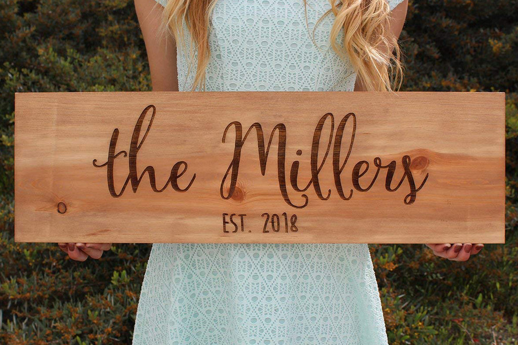 Rustic Wood Engraved Sign Personalized with Last Name and Established Year