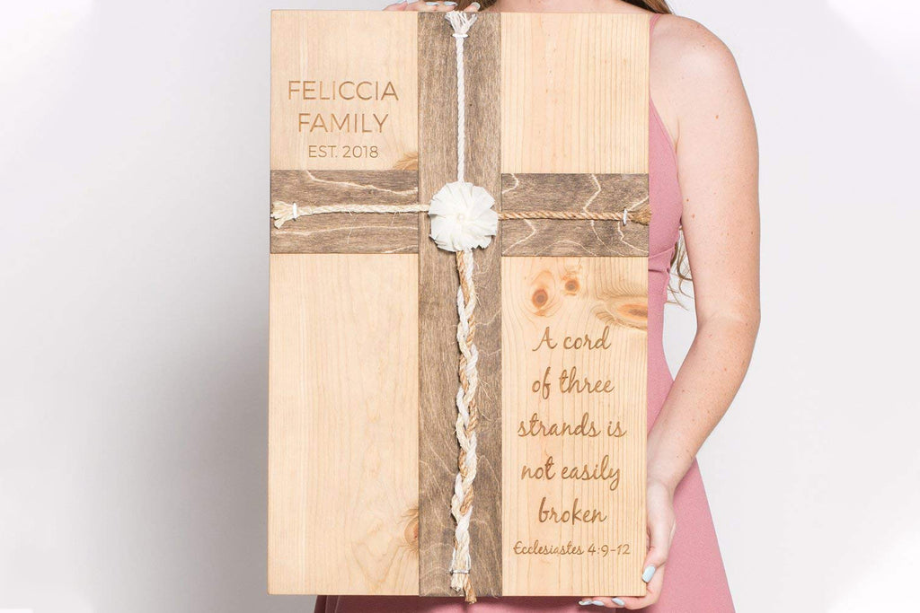 Family Wood Sign - A Cord of Three Strands Wedding Cross, Personalized
