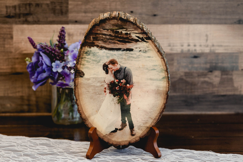 Photo Basswood Tree Slice Personalized with Your Picture Printed on Wood Slab