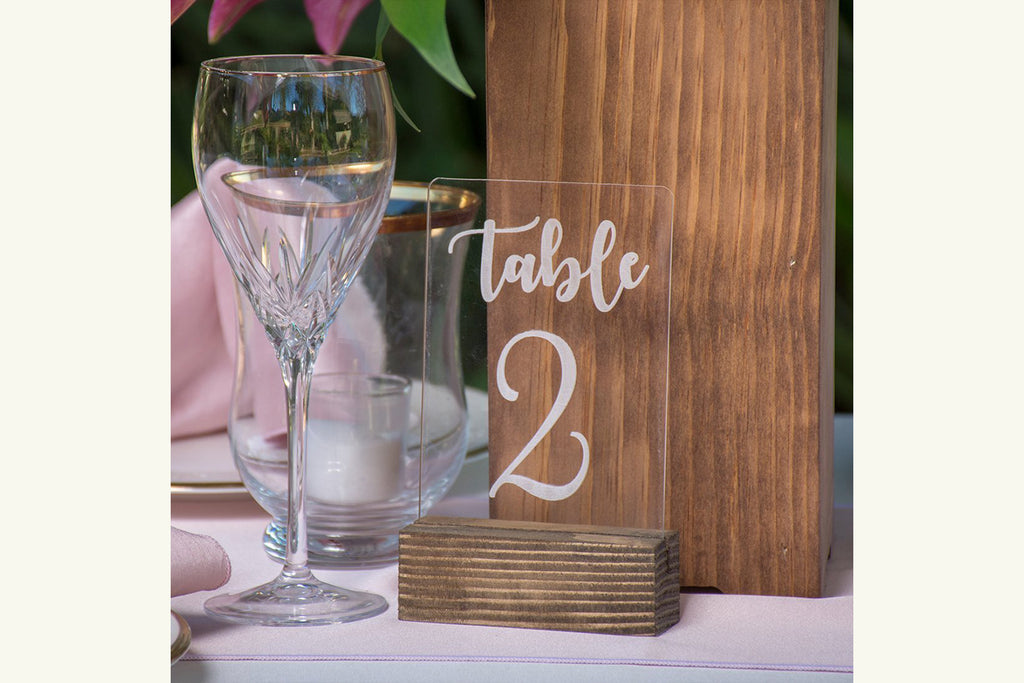 Table Number Clear Acrylic Engraved with Wood Base Freestanding