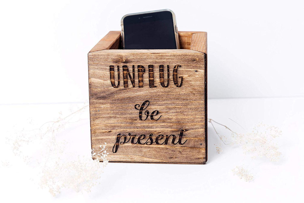 Unplug Box - Wood Cell Phone Holder
