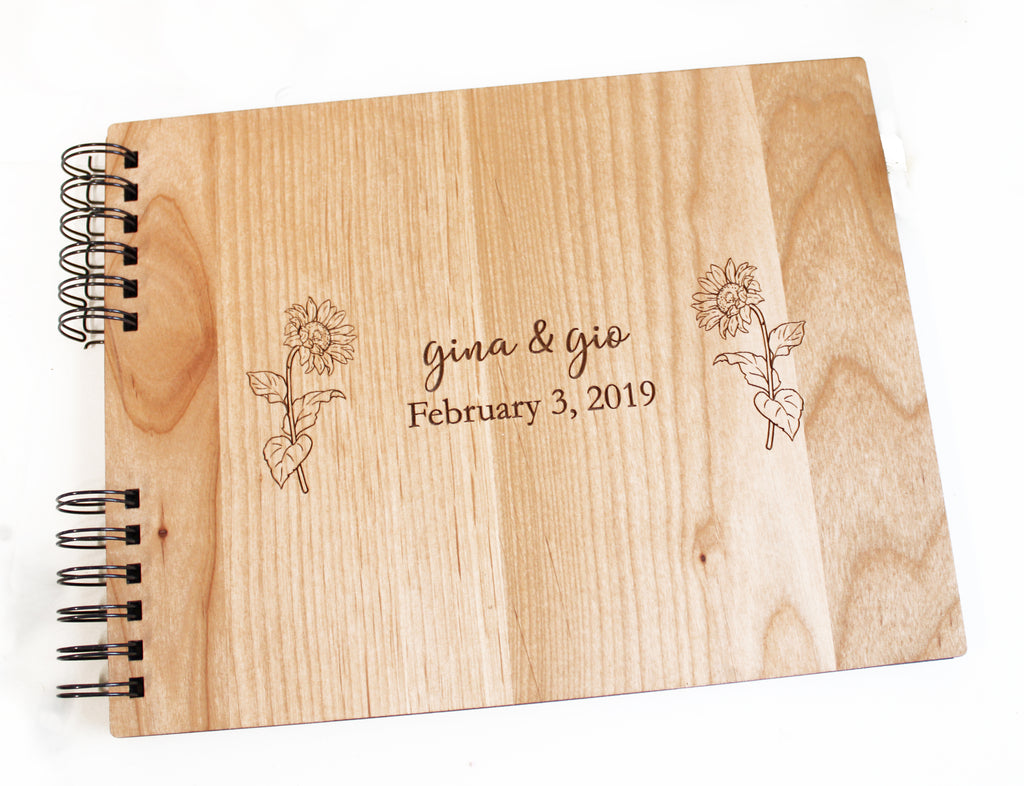 Photo Album or Guest Book - Sunflowers Personalized First Names, Date