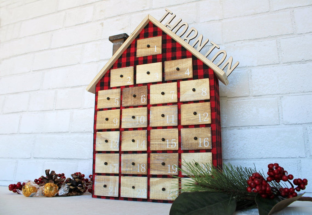 Advent Calendar House Christmas Countdown - Personalized Wood Name