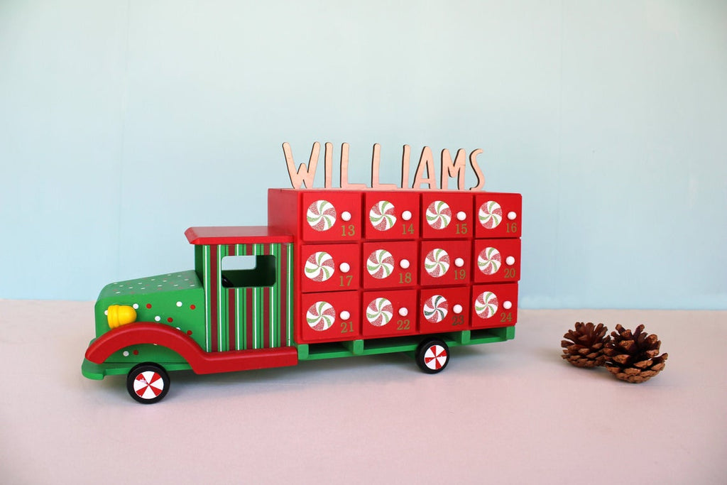 Advent Calendar Truck Red & Green Christmas Countdown - Personalized Name