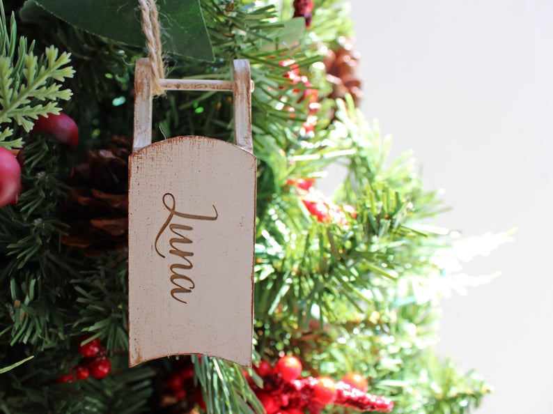 Wood Sled Christmas Ornament Personalized with Name Engraved, Font, Color Options