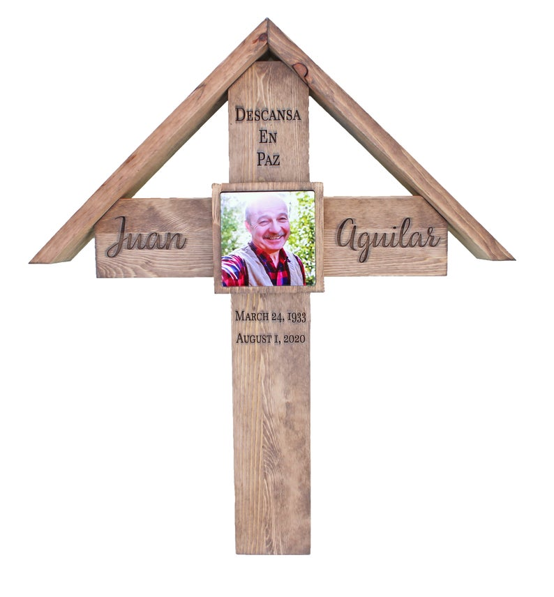 Memorial Cross with Roof - Personalized for Your Loved One