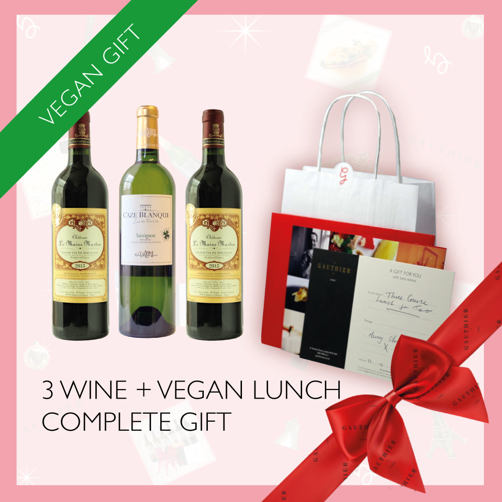 Vegan Lunch for Two + 3x Wines Gift Box