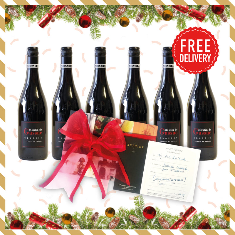 Christmas Red Box: 6x Moulin de Gassac + 3 Course Lunch Lunch for 2