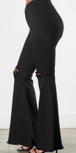 Load image into Gallery viewer, Dance With Me Black Distressed Bell Bottoms