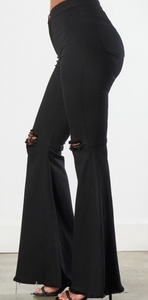 Dance With Me Black Distressed Bell Bottoms