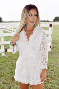 You Found My Heart - White Lace Romper
