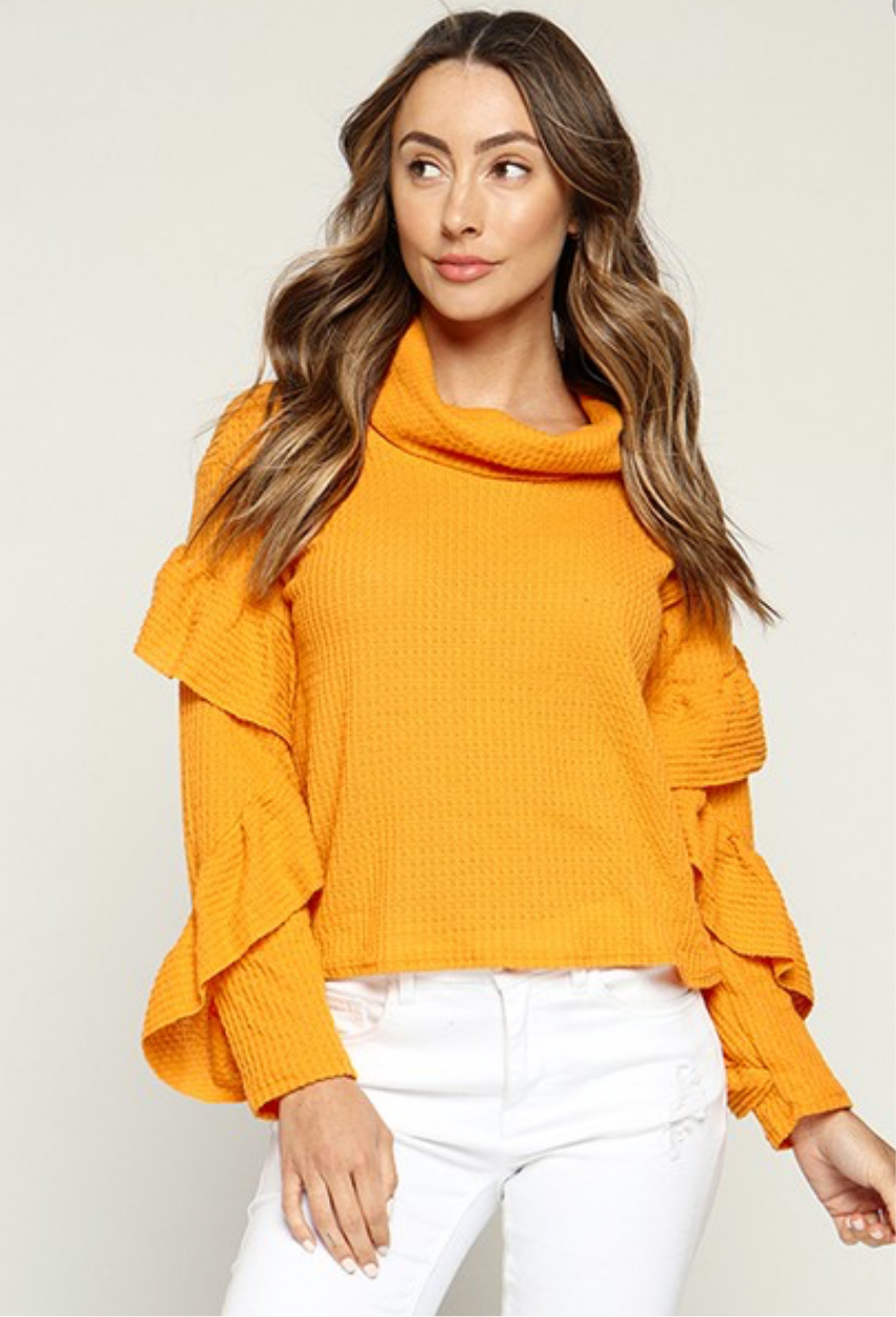 Mustard Long Ruffle Sleeve Mock Neck Top