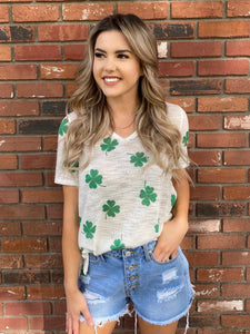 4 Leaf Clover V Neck