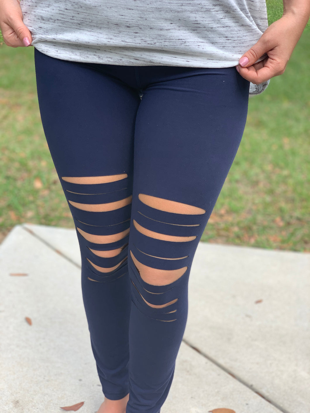 Laser Cut Leggings - Navy Blue