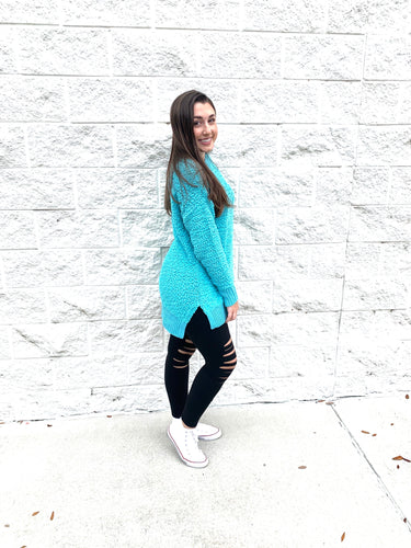 Timeless Teal Sherpa Long Sleeve Top