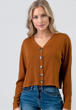 Load image into Gallery viewer, Terracotta Long Sleeve Button Crop Top