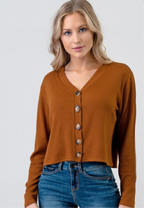 Terracotta Long Sleeve Button Crop Top