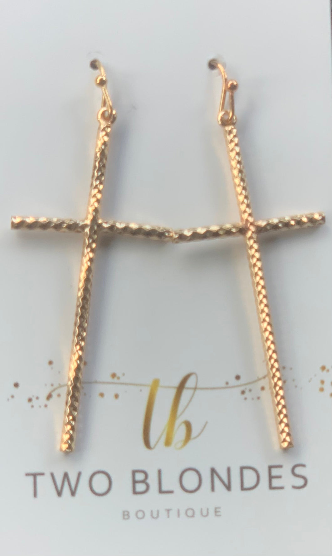 Glam Gold Cross Earrings