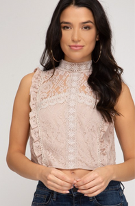 Pink Lace Crop