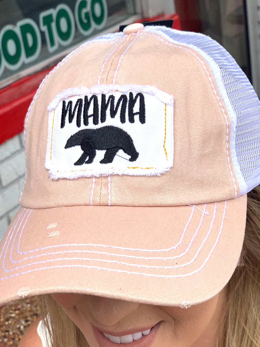 Distressed Mama Blush Hat