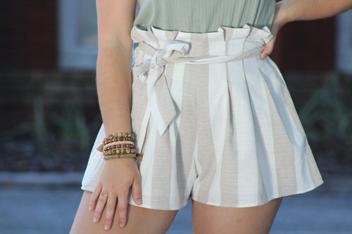 High Waisted Cream Shorts