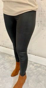 Curvy Wildcard Black Leather Leggings
