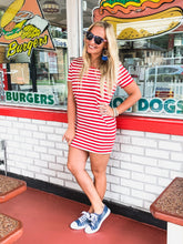 Load image into Gallery viewer, Society Red and White Striped Dress