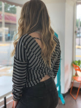 Load image into Gallery viewer, Black/White Twist Back Striped Boat Neck Top