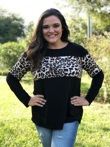 Leopard Space Black Top