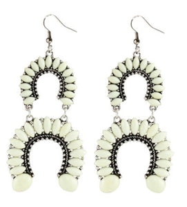 Cream Country Cutie Horseshoe Earrings