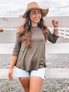 Olive Cold Shoulder Cutie