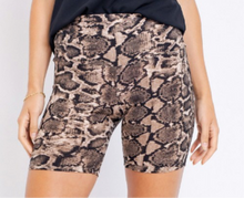 Load image into Gallery viewer, Taupe Snakeskin Biker Shorts