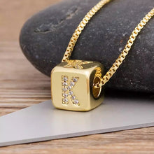 Load image into Gallery viewer, Glam Square Initial Pendant