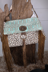Large Turquoise and Leopard Fringe Bag