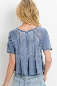 Ruffle My Feathers Crop - Blue