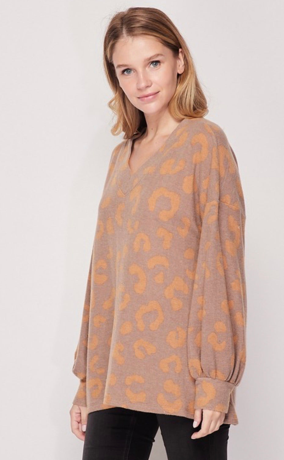 Neutral Leopard Pull Over