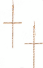 Load image into Gallery viewer, Glam Gold Cross Earrings