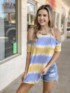 Snake Tie Cold Shoulder Top