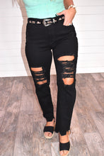 Load image into Gallery viewer, Naomi Distressed Black Denim