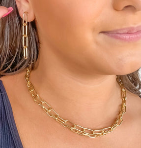 Gold Chain Link Necklace Set