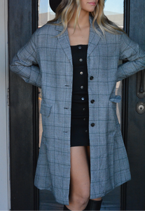 Shameless Plaid Long Blazer