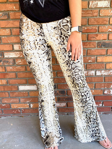 Velvet Snake Bell Bottom Leggings