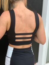 Load image into Gallery viewer, Black Tie Front Sports Bra