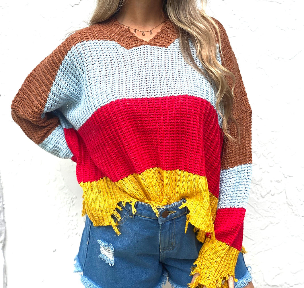 Frayed Fall Sweater
