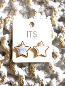 White Star Stud Earrings