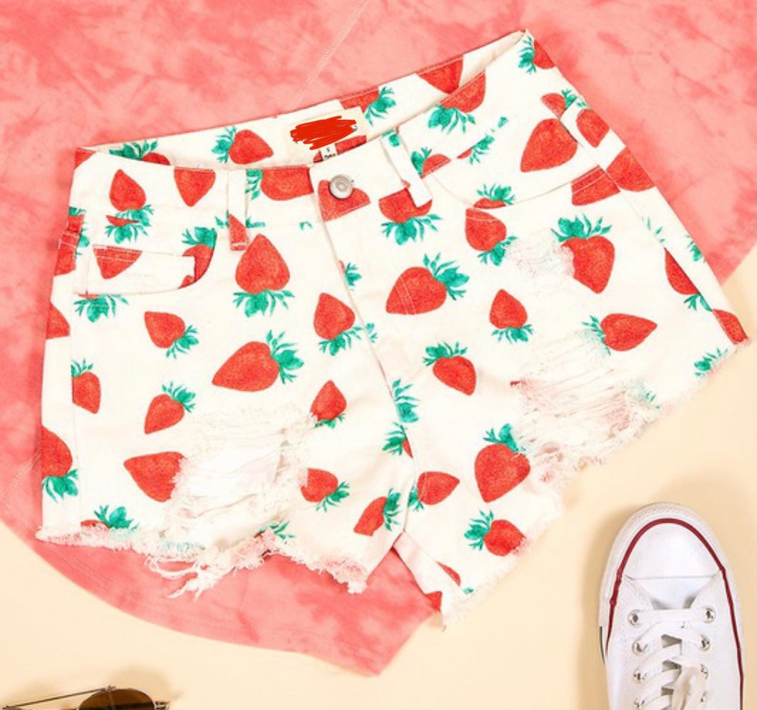 Strawberry Nights Distressed Shorts