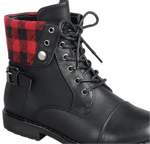 Red Plaid Combat Boots