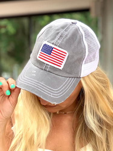Distressed American Flag Hat - Gray