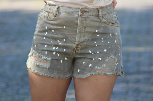 Oatmeal Paint Splatter Shorts